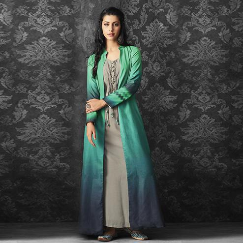 Gleaming Grey-Green Colored Party Wear Fancy  Cotton Kurti With Linen Jacket