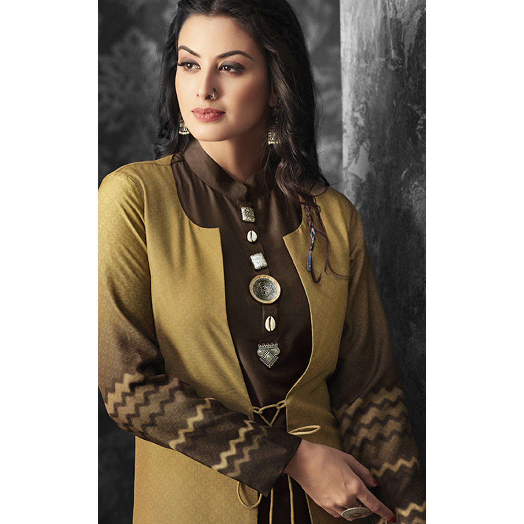 Arresting Brown-Beige Colored Party Wear Fancy  Cotton Kurti With Linen Jacket