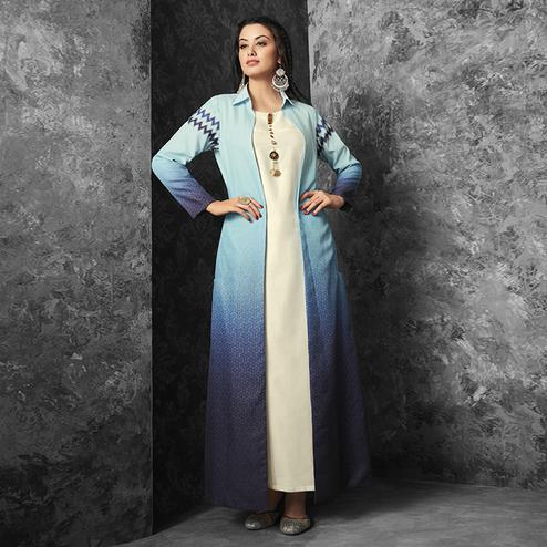 Excellent White-Shaded Blue Colored Party Wear Fancy Cotton Kurti With Linen Jacket