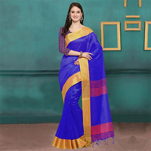Blue Chicha Silk Weaving Work Saree