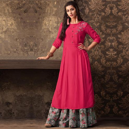 Beautiful Dark Pink Colored Partywear Embroidered Kurti & Skirt Set