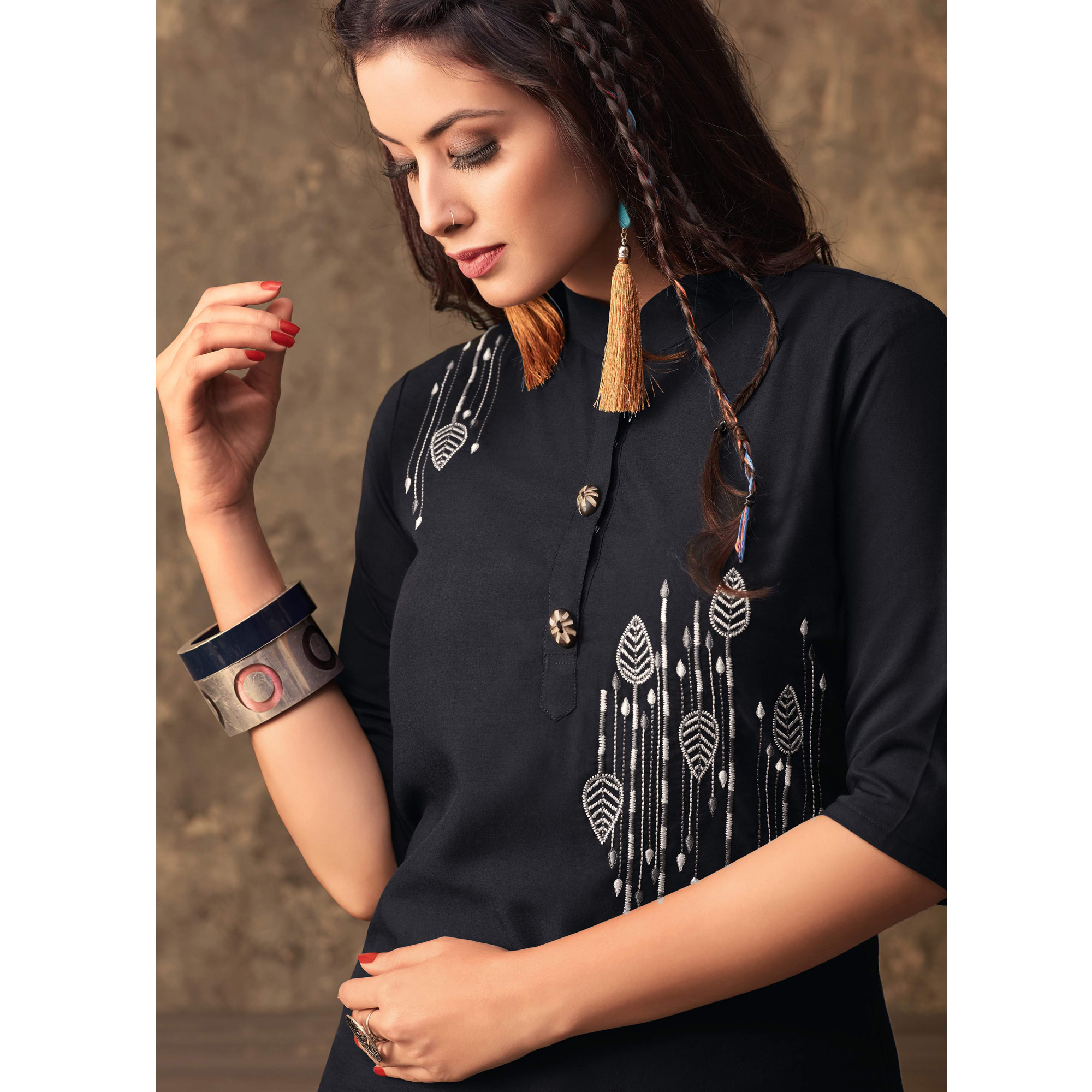 Stylish Black Colored Partywear Embroidered Kurti & Skirt Set