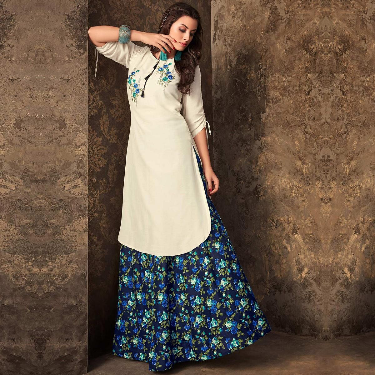 2ebcd13cca2 Buy Eye-Catching White Colored Partywear Embroidered Kurti   Skirt Set for women s  online India