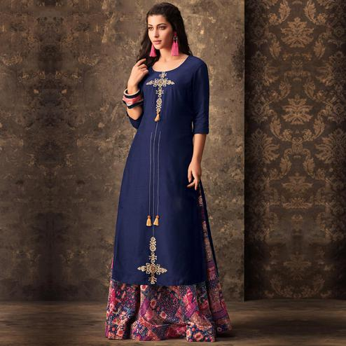 Staring Navy Blue Colored Partywear Embroidered Kurti & Skirt Set