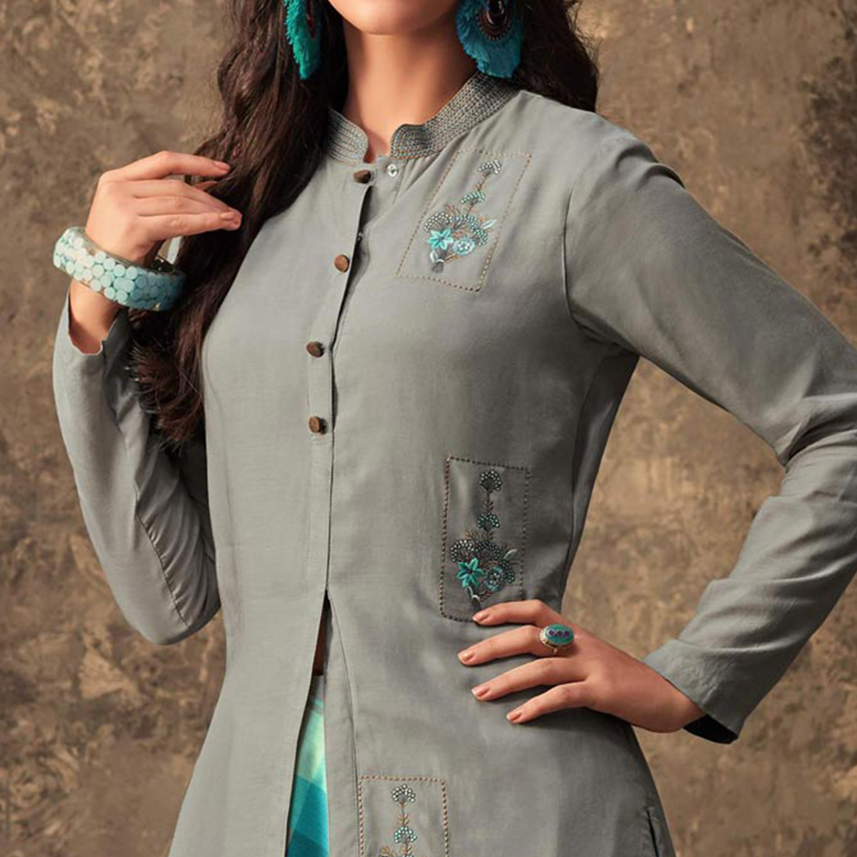 Gleaming Gray Colored Partywear Embroidered Kurti & Skirt Set