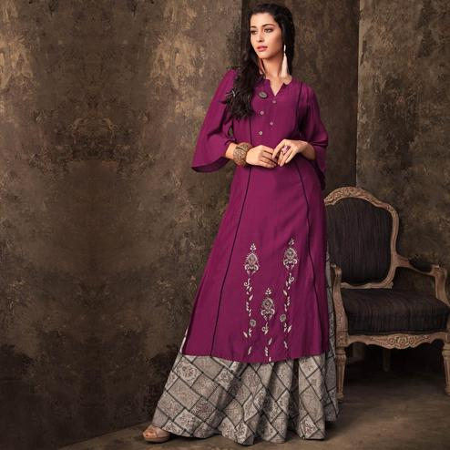 Perfect Purple Colored Partywear Embroidered Kurti & Skirt Set
