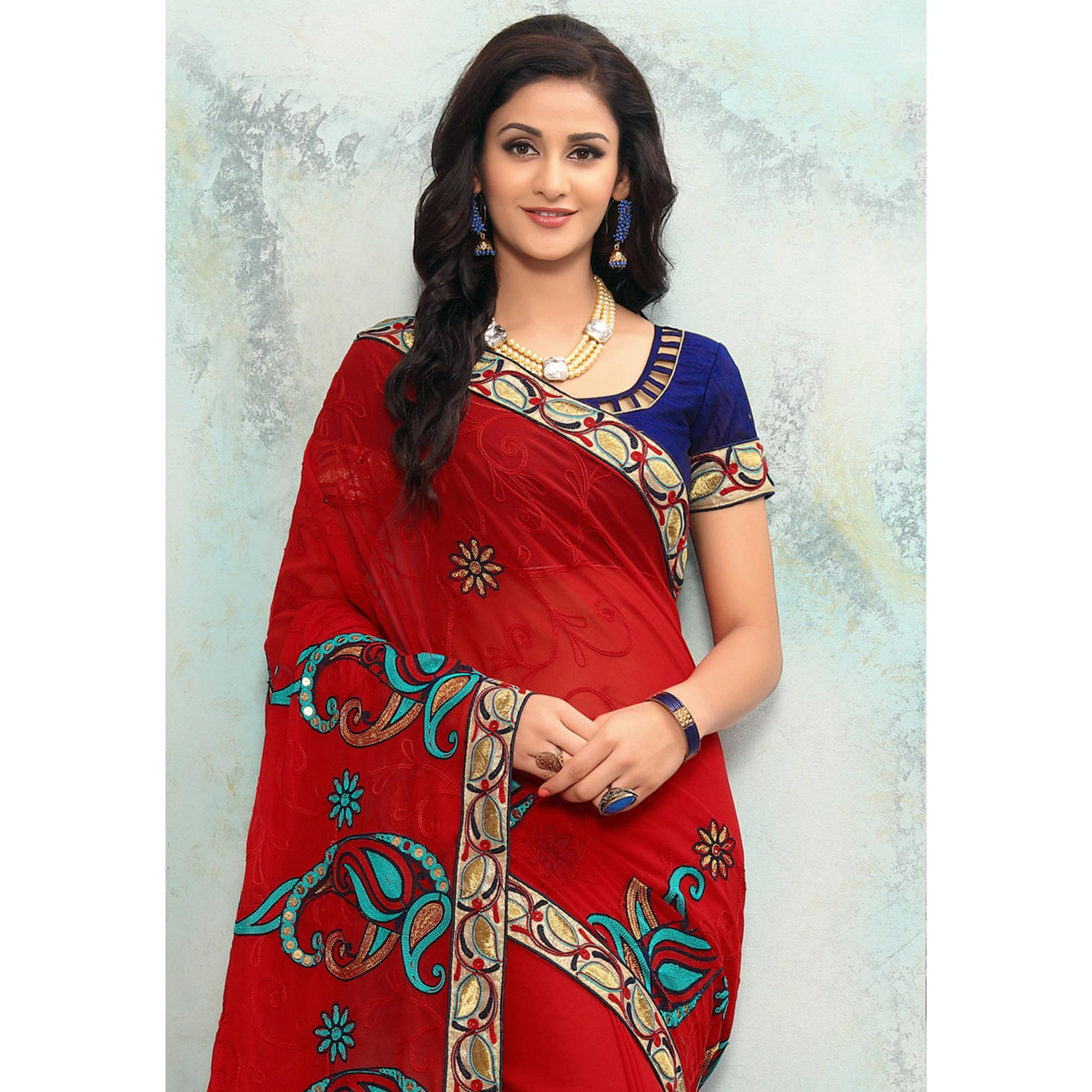 Attractive Red Colored Partywear Embroidered Georgette Saree