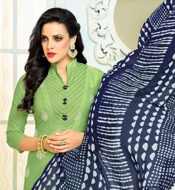 Mesmerising Green - Blue Chanderi Cotton Embroidered Suit