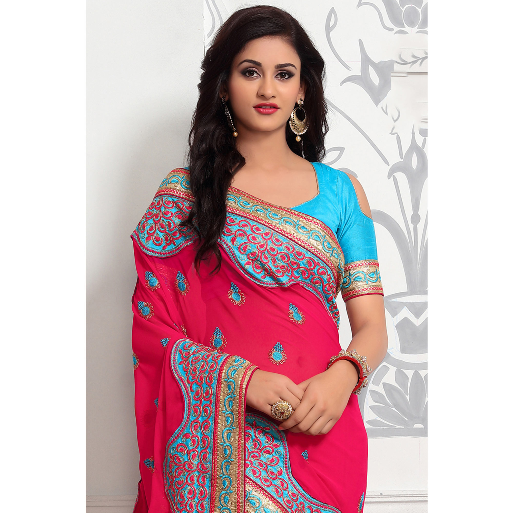 Classy Rani Pink Colored Partywear Embroidered Georgette Saree