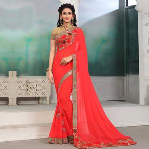 Lovely Crimson Red Colored Partywear Embroidered Georgette Saree