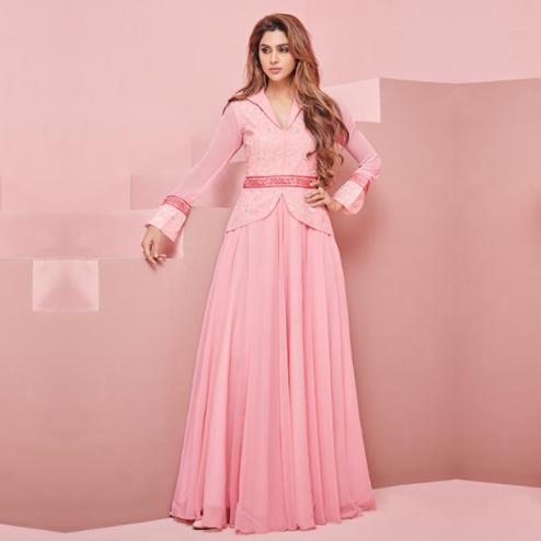 Stunning Pink Colored Partywear Embroidered Georgette Gown