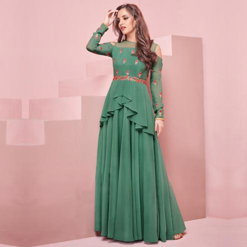 Amazing Green Colored Partywear Embroidered Georgette Gown