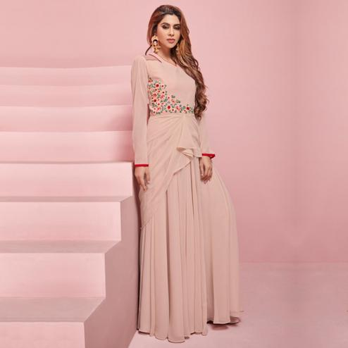 Impressive Beige Colored Partywear Embroidered Georgette Gown