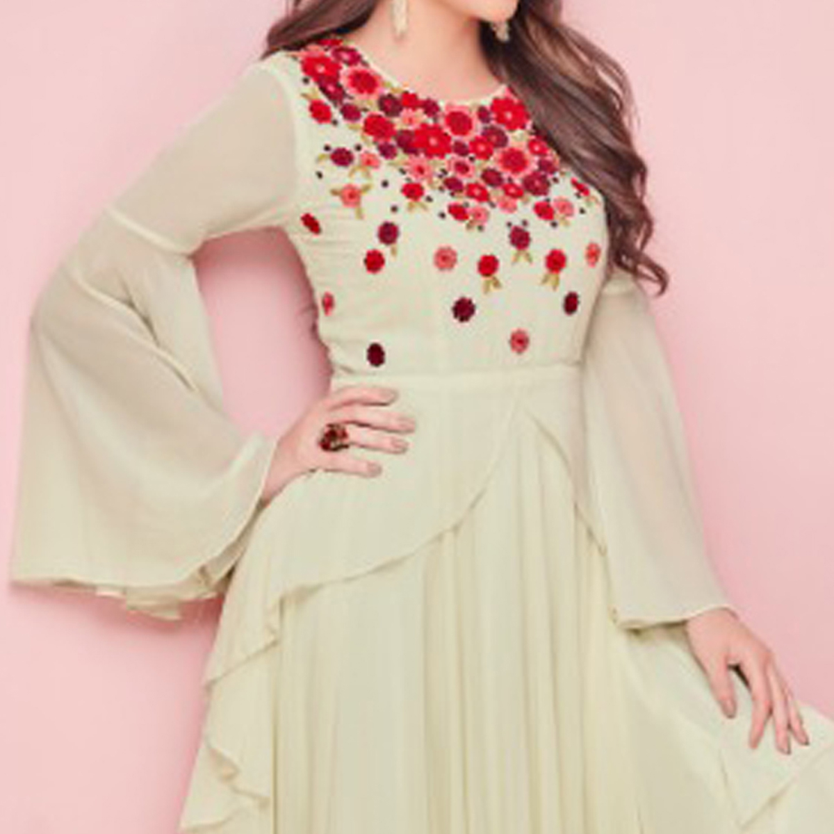 Stylish Cream Colored Partywear Embroidered Georgette Gown