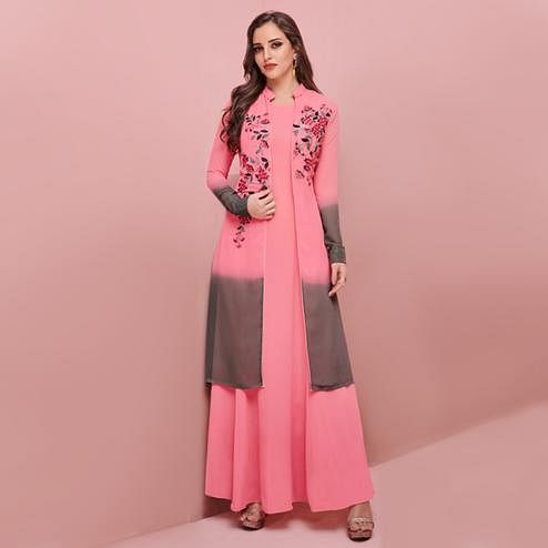 Marvellous Pink-Gray Colored Partywear Embroidered Georgette Gown