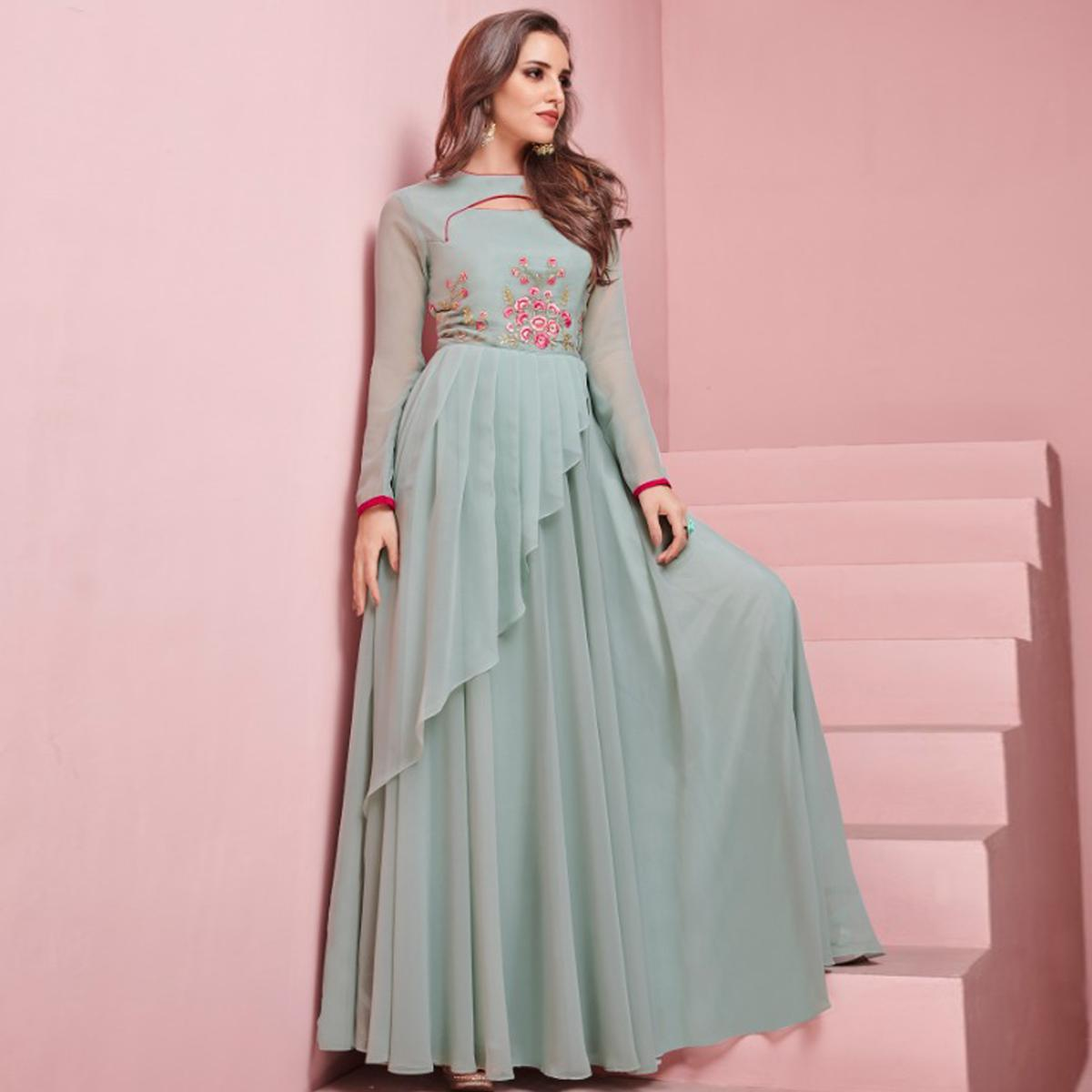 Gorgeous Gray Colored Partywear Embroidered Georgette Gown