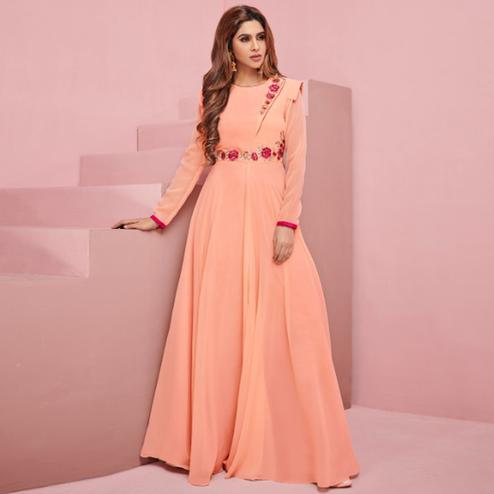 Impressive Peach Colored Partywear Embroidered Georgette Gown
