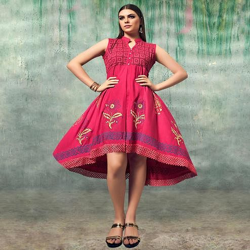 Intricate Pink Colored Party Wear Embroidered Rayon Kurti