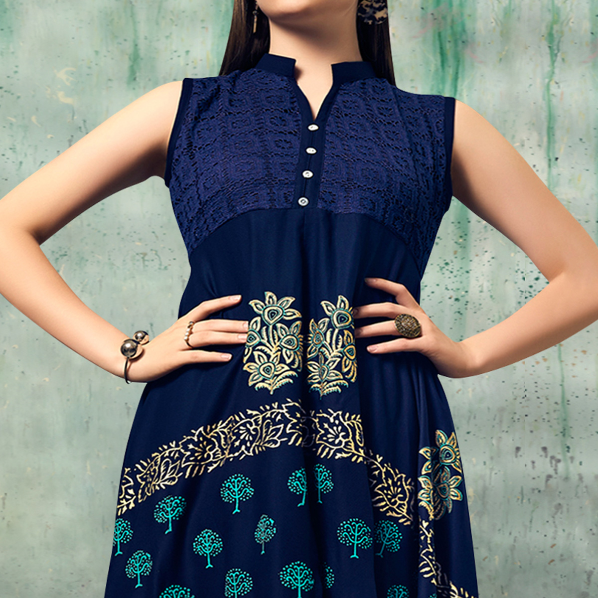 Desirable Navy Blue Colored Party Wear Embroidered Rayon Kurti