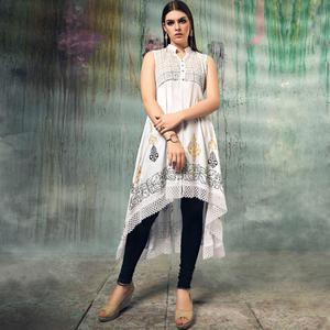 Sophisticated Off-White Colored Party Wear Embroidered Rayon Kurti