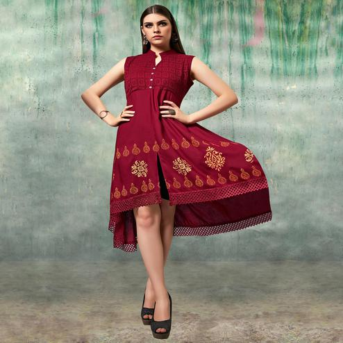 Demanding Maroon Colored Party Wear Embroidered Rayon Kurti