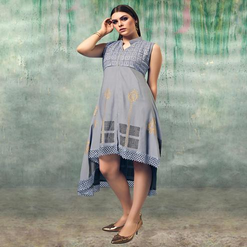 Pleasant Grey Colored Party Wear Embroidered Rayon Kurti