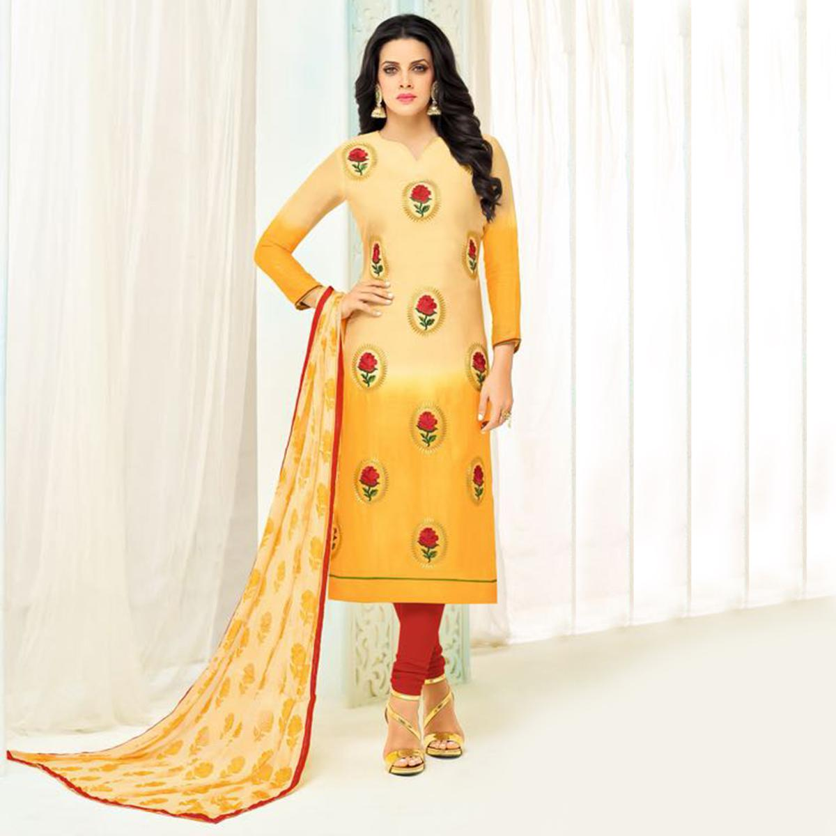 Alluring Shaded Yellow Chanderi Cotton Floral Embroidered Suit
