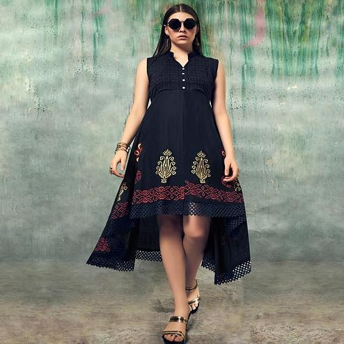 Unique Black Colored Party Wear Embroidered Rayon Kurti
