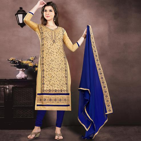 Majesty Beige Colored Party Wear Embroidered Chanderi Suit