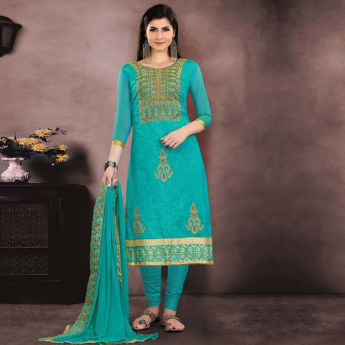 Preferable Turquoise Blue Colored Party Wear Embroidered Chanderi Suit