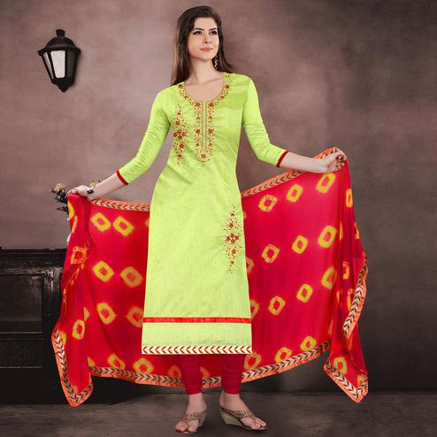Attractive Green Colored Party Wear Embroidered Chanderi Suit