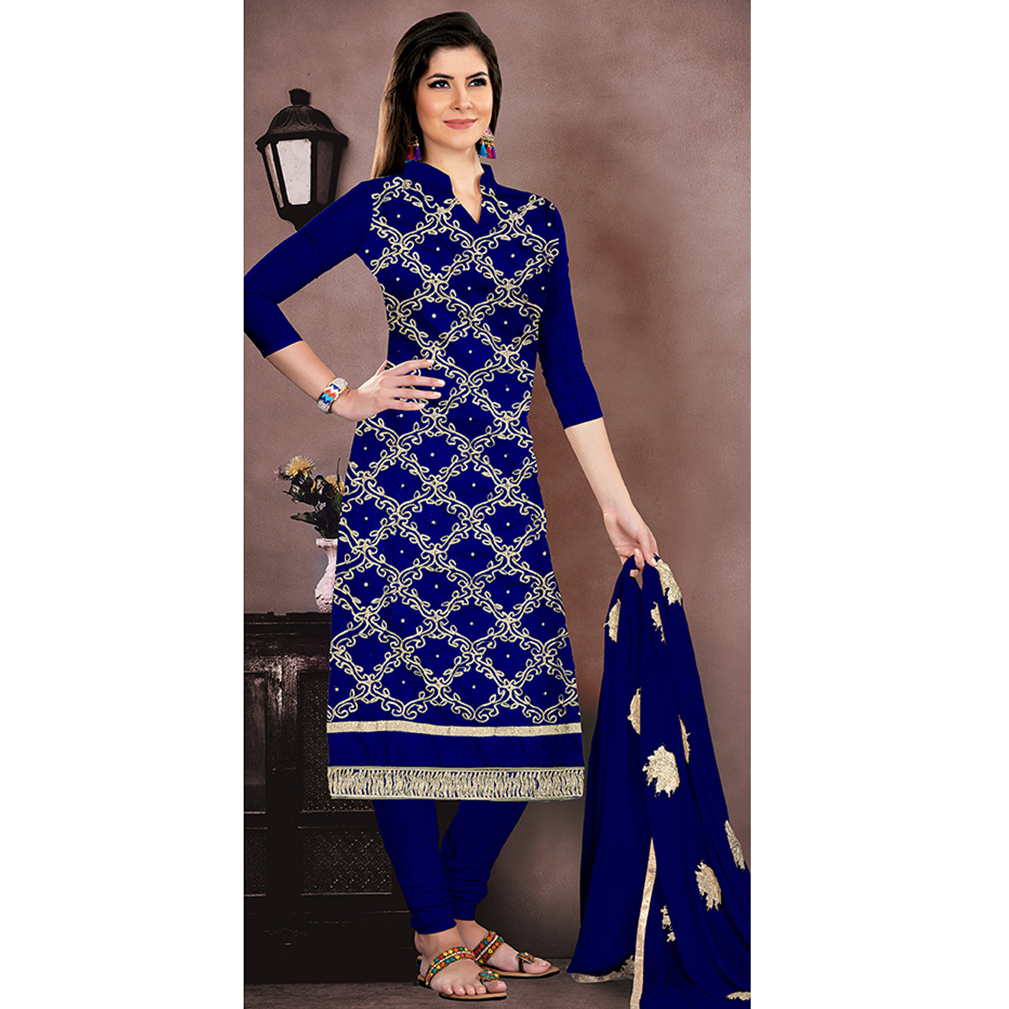 Beautiful Royal Blue Colored Party Wear Embroidered Chanderi Suit