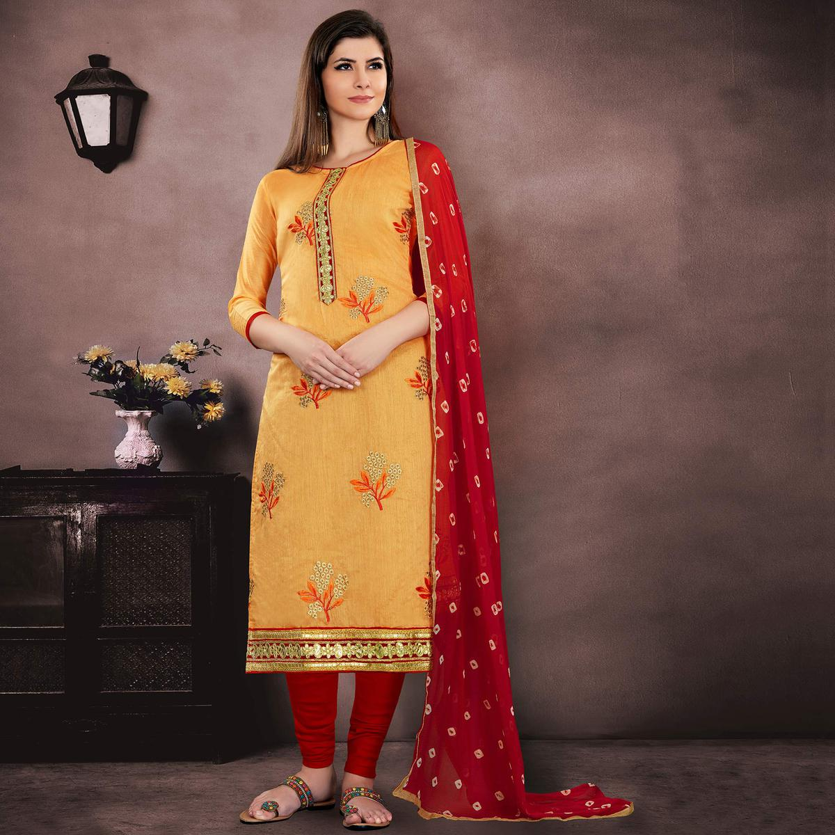 Gorgeous Mustard Yellow Colored Party Wear Embroidered Chanderi Suit