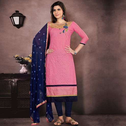 Classy Pink Colored Party Wear Embroidered Chanderi Suit