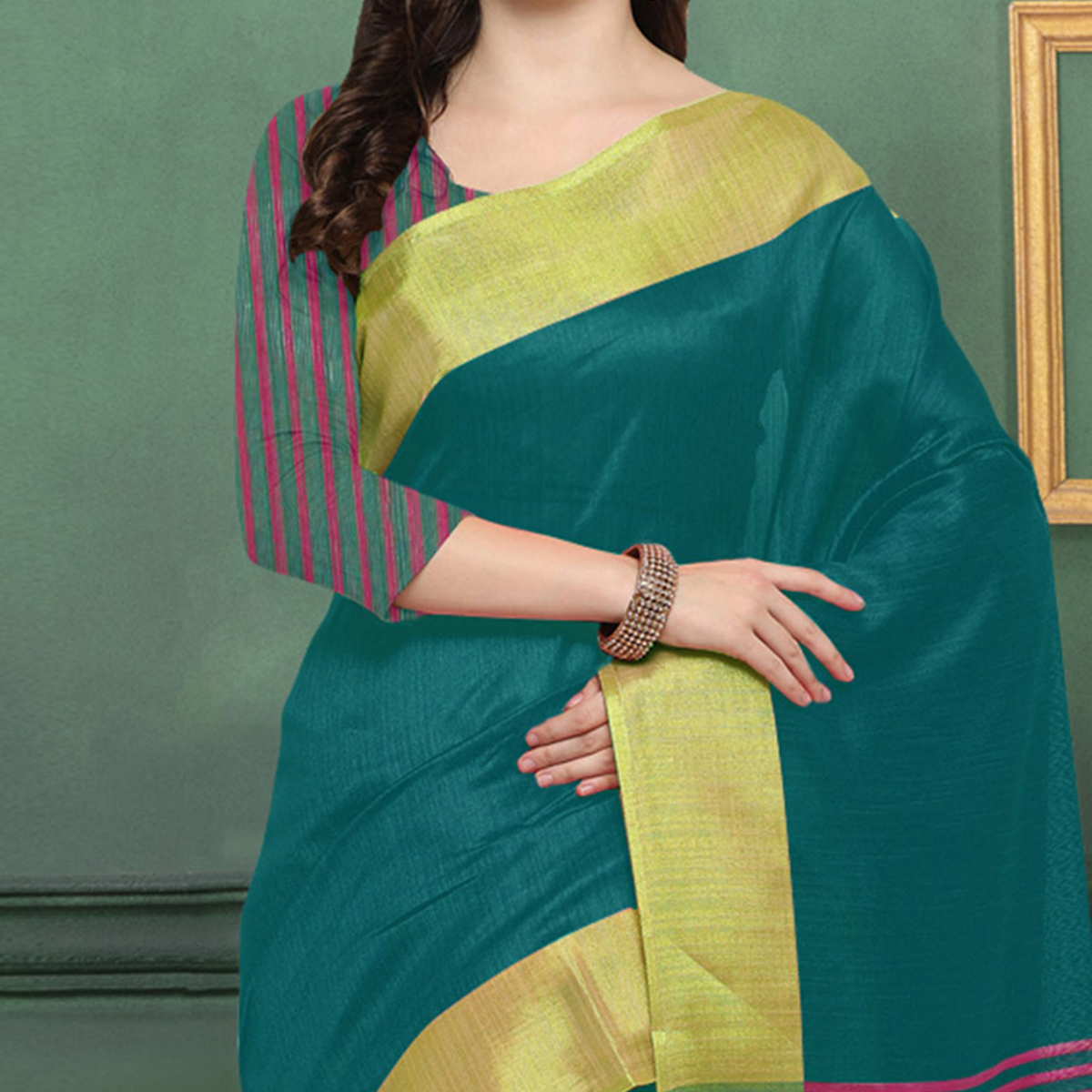 Teal Green Chicha Silk Weaving Work Saree