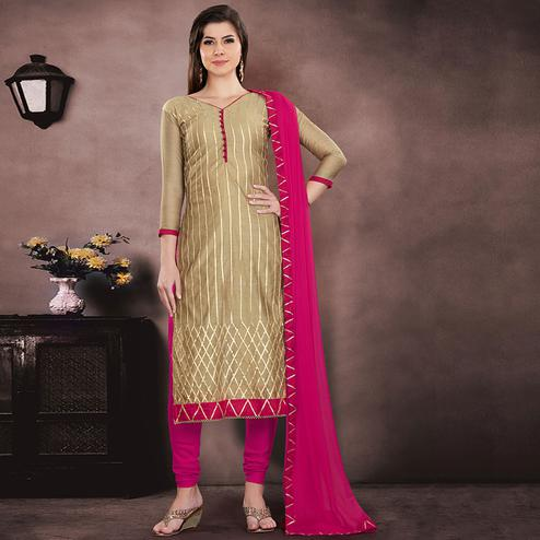 Graceful Beige Colored Party Wear Embroidered Chanderi Suit