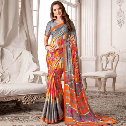 Majesty Grey & Orange Colored Casual Printed Georgette Saree