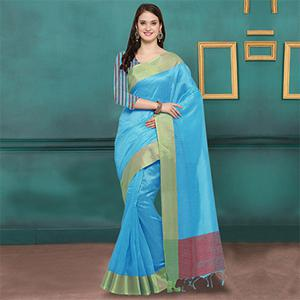 Sky Blue Weaved Border Ghicha Silk Saree