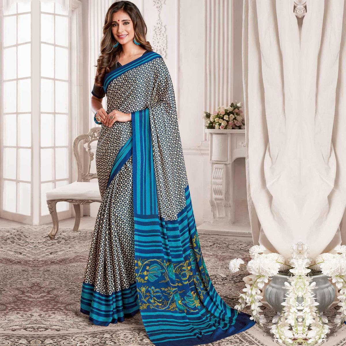 Preferable Dark Grey & Blue Colored Casual Printed Georgette Saree