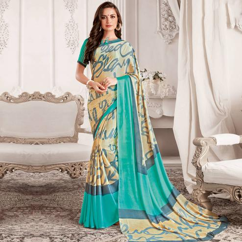 Attractive Cream & Aqua Blue Colored Casual Printed Georgette Saree