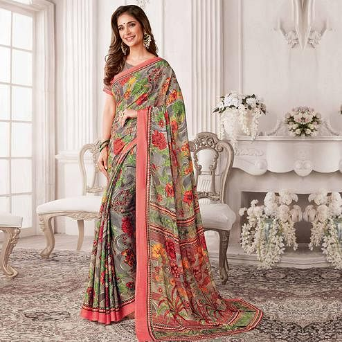 Beautiful Multicolored Casual Printed Georgette Saree