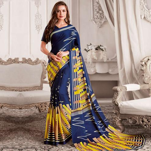 Gorgeous Navy Blue Colored Casual Printed Georgette Saree