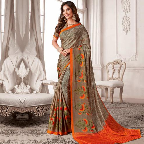 Classy Beige Colored Casual Printed Georgette Saree