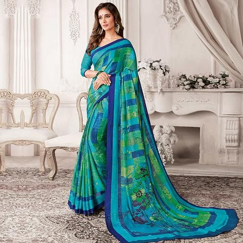 Glorious Blue Colored Casual Printed Georgette Saree