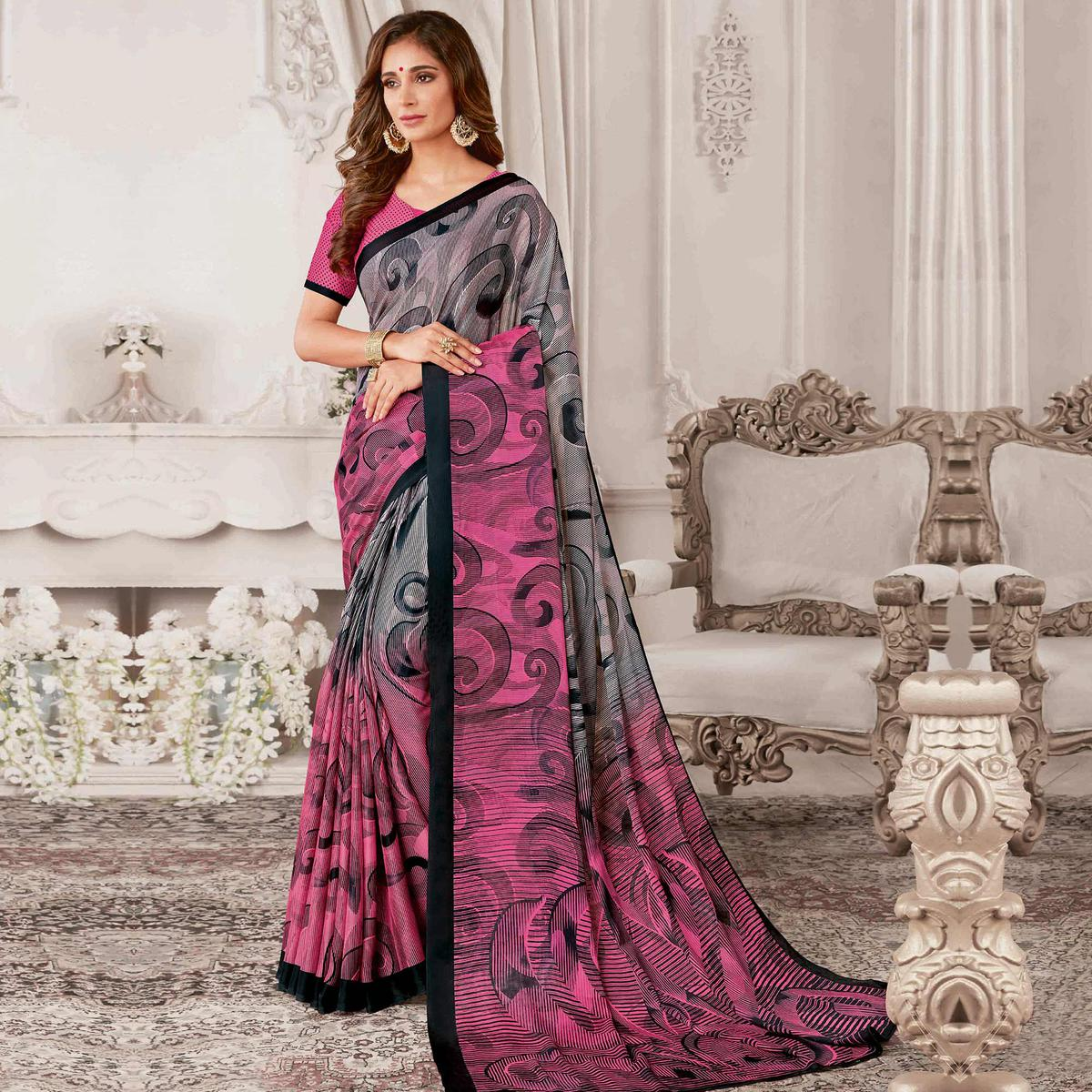 Lovely Grey & Pink Colored Casual Printed Georgette Saree
