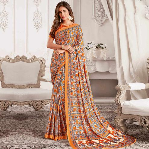 Pretty Orange & Grey Colored Casual Printed Georgette Saree