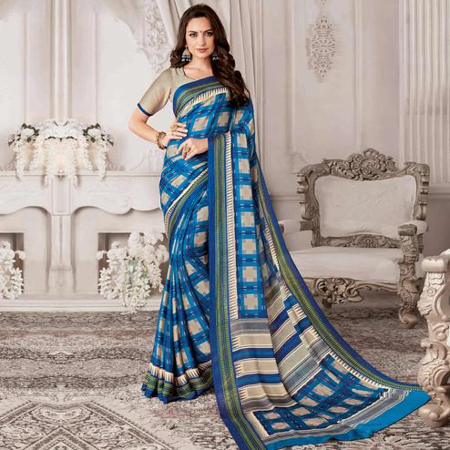 Charming Blue Colored Casual Printed Georgette Saree