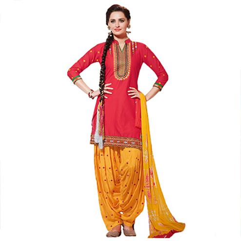 Red - Yellow Printed Patiala Suit