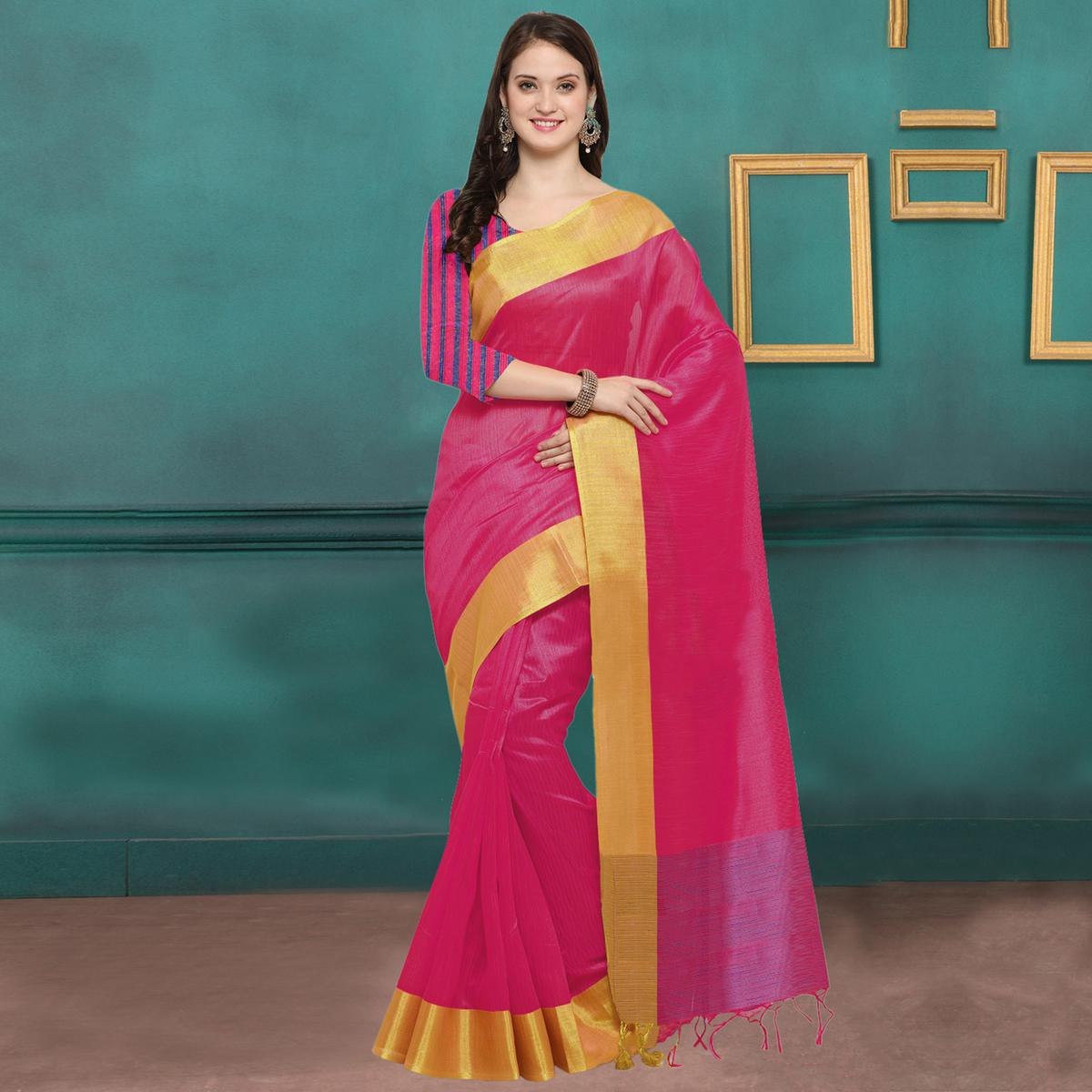 95597082b33fc0 Buy Hot Pink Color Weaved Border Ghicha Silk Saree Online India ...