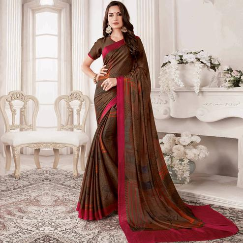 Arresting Dark Brown Colored Casual Printed Georgette Saree